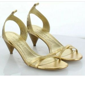 BURBERRY GOLD METALLIC LEATHER RIVETED CONE HEELS